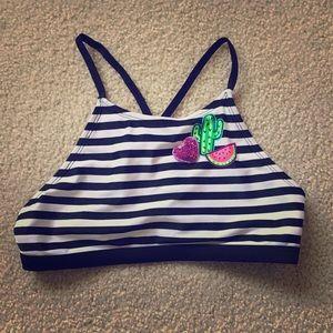 Black/white striped Justice swim suit top size 12